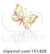 Royalty Free RF Clipart Illustration Of A Colorful Butterfly With A Reflection On White by MilsiArt