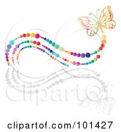 Royalty Free RF Clipart Illustration Of A Colorful Butterfly With A Rainbow Bubble Trail And A Reflection by MilsiArt #COLLC101427-0110