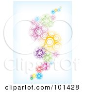 Royalty Free RF Clipart Illustration Of A Background Of A Wave Of Abstract Spirals Fading Into Blue And White