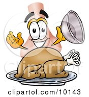 Clipart Picture Of A Nose Mascot Cartoon Character Serving A Thanksgiving Turkey On A Platter by Toons4Biz