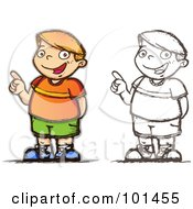 Royalty Free RF Clipart Illustration Of A Red Haired Caucasian Boy Smiling And Pointing by Qiun