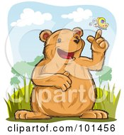 Royalty Free RF Clipart Illustration Of A Happy Bear With A Butterfly On His Finger by Qiun
