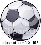 Royalty Free RF Clipart Illustration Of A White Soccer Football With Black Pieces