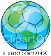 Royalty Free RF Clipart Illustration Of A Blue And Green Soccer Globe