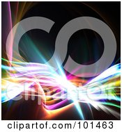 Royalty Free RF Clipart Illustration Of A Fractal Background Of Colorful Swooshes Over Black 3