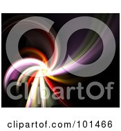 Royalty Free RF Clipart Illustration Of A Fractal Background Of A Colorful Spiral On Black