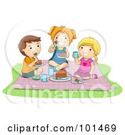Royalty Free RF Clipart Illustration Of Two Girls And A Boy Eating Food At A Picnic by BNP Design Studio