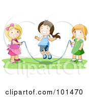 Three Happy Girls Playing With A Jump Rope