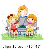 Royalty Free RF Clipart Illustration Of A Boy And Two Girls Eating Ice Cream On A Bench by BNP Design Studio