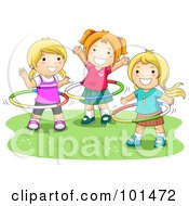 Royalty Free RF Clipart Illustration Of Three Happy Girls Playing With Hula Hoops