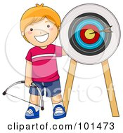 Happy Red Haired Boy Standing By An Arrow On A Target