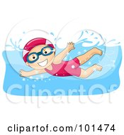 Royalty Free RF Clipart Illustration Of A Happy Girl Wearing A Cap And Swimming