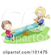 Happy Boy And Girl Playing On A See Saw