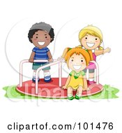 Royalty Free RF Clipart Illustration Of A Black Boy And White Girls Playing On A Playground Roundabout