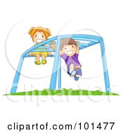Happy Boy And Girl Playing On Playground Monkey Bars