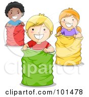 Royalty Free RF Clipart Illustration Of A Black Boy White Boy And White Girl Playing In A Sack Race