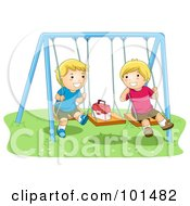 Royalty Free RF Clipart Illustration Of Two Happy Boys Playing On Swings
