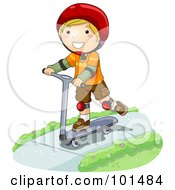 Happy Blond Boy Riding A Scooter On A Sidewalk