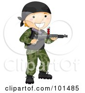 Royalty Free RF Clipart Illustration Of A Happy Boy Playing Paintball by BNP Design Studio