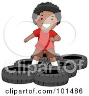 Royalty Free RF Clipart Illustration Of A Happy Black Boy In A Tire Obstacle Course by BNP Design Studio