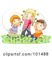 Royalty Free RF Clipart Illustration Of A Girl And Two Boys Playing In Autumn Leaves by BNP Design Studio