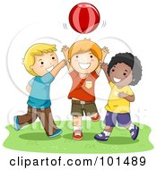 Royalty Free RF Clipart Illustration Of Three Happy Boys Playing Catch With A Ball
