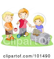 Royalty Free RF Clipart Illustration Of Three Happy Boys Playing With Yo Yos