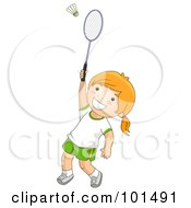 Royalty Free RF Clipart Illustration Of A Happy Girl Playing Badminton
