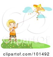 Royalty Free RF Clipart Illustration Of A Happy Blond Boy Flying A Kite On A Nice Day by BNP Design Studio