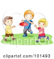 Royalty Free RF Clipart Illustration Of Three Happy Boys Playing With A Flying Disc by BNP Design Studio