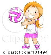 Royalty Free RF Clipart Illustration Of A Happy Girl Playing Volleyball