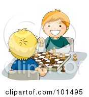 Royalty Free RF Clipart Illustration Of Two Happy Boys Playing A Game Of Chess by BNP Design Studio