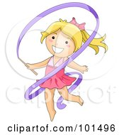 Blond Gymnast Girl Dancing With A Ribbon