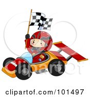 Happy Boy Holding A Flag And Driving A Race Car