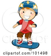 Happy Red Haired Boy Wearing A Helmet And Skateboarding