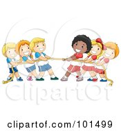 Royalty Free RF Clipart Illustration Of A Group Of Diverse Children Playing Tug Of War With A Rope