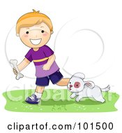 Royalty Free RF Clipart Illustration Of A Happy Red Haired Boy Tossing A Bone For His Puppy