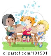 Black Boy And White Girls Blowing Bubbles On A Bench