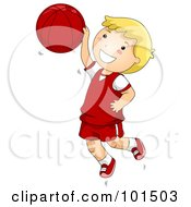 Happy Blond Boy Jumping While Playing Basketball