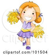 Happy Red Haired Cheerleader Girl In Purple
