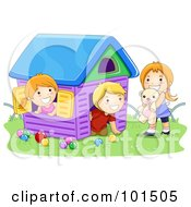 Royalty Free RF Clipart Illustration Of A Boy And Two Girls Playing In A Toy House