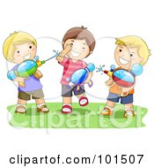 Royalty Free RF Clipart Illustration Of Three Boys Playing With Water Squirt Guns by BNP Design Studio