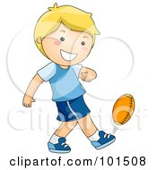 Happy Blond Boy Kicking A Football