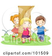 Royalty Free RF Clipart Illustration Of A Boy And Two Girls Chasing Each Other Around A Tree