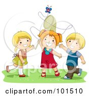 Royalty Free RF Clipart Illustration Of Two Girls And A Boy Trying To Catch A Butterfly With A Net by BNP Design Studio