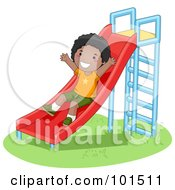 Royalty Free RF Clipart Illustration Of A Happy Black Boy Playing On A Slide by BNP Design Studio