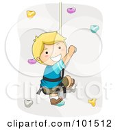 Royalty Free RF Clipart Illustration Of A Happy Blond Boy Rock Climbing by BNP Design Studio