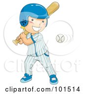 Royalty Free RF Clipart Illustration Of A Happy Blond Boy Batting At A Baseball by BNP Design Studio