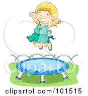 Royalty Free RF Clipart Illustration Of A Happy Blond Girl Jumping High On A Trampoline by BNP Design Studio