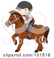 Royalty Free RF Clipart Illustration Of A Happy Boy Equestrian Riding A Horse by BNP Design Studio